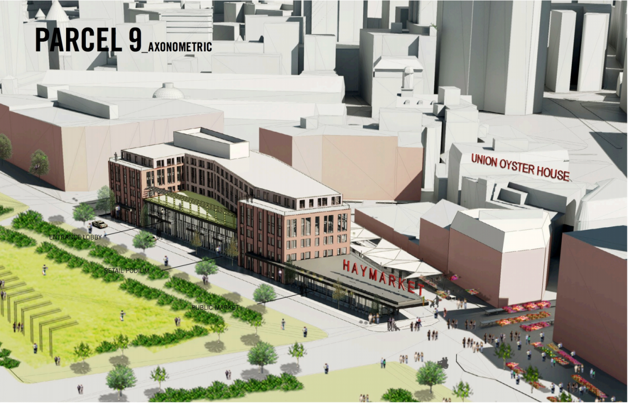 Haymarket hotel and market hall rendering looking from the North End over the Greenway toward Haymarket and Blackstone Street (BRA Filing)