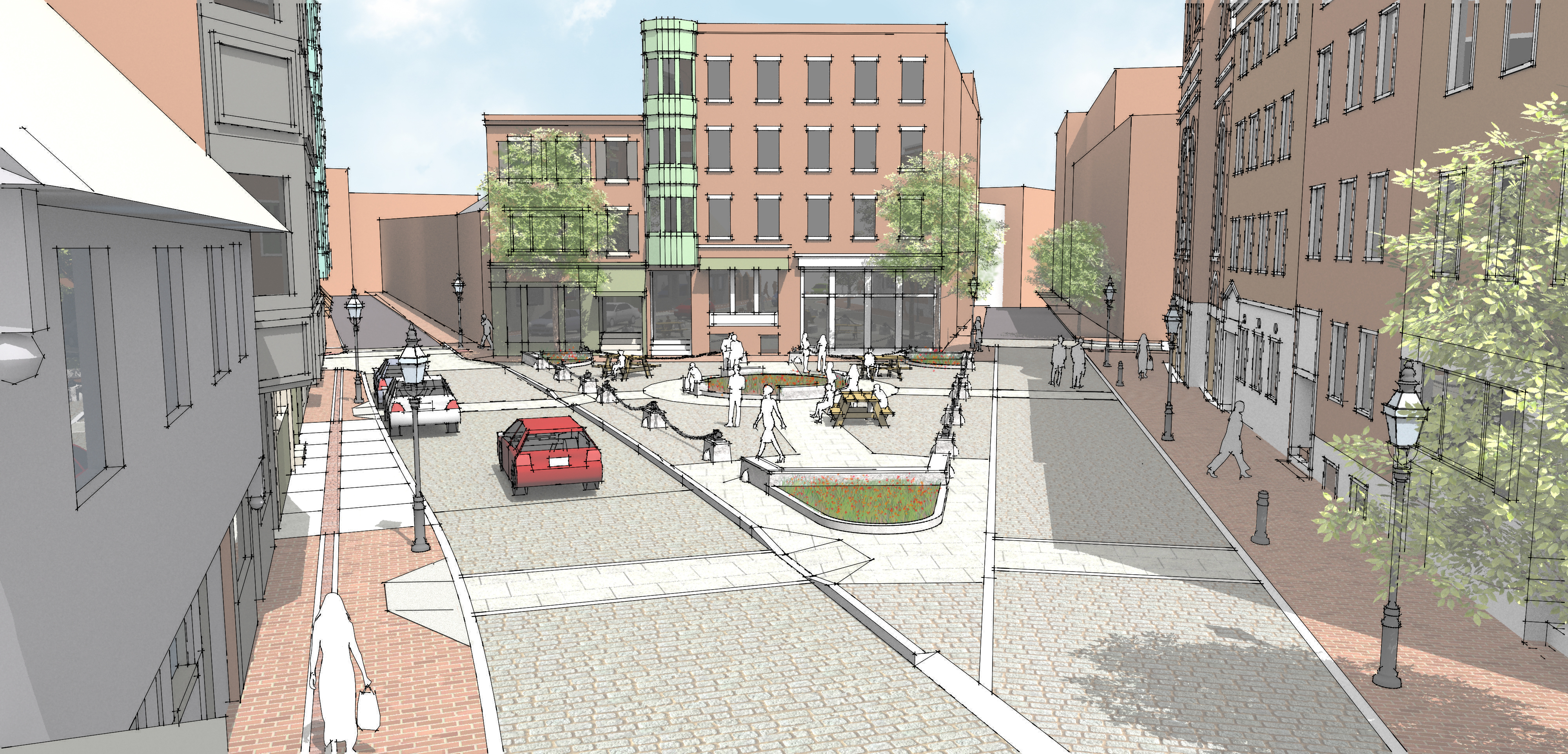 Rendering of North Square Reconstruction slated for 2017 (Boston Public Works)