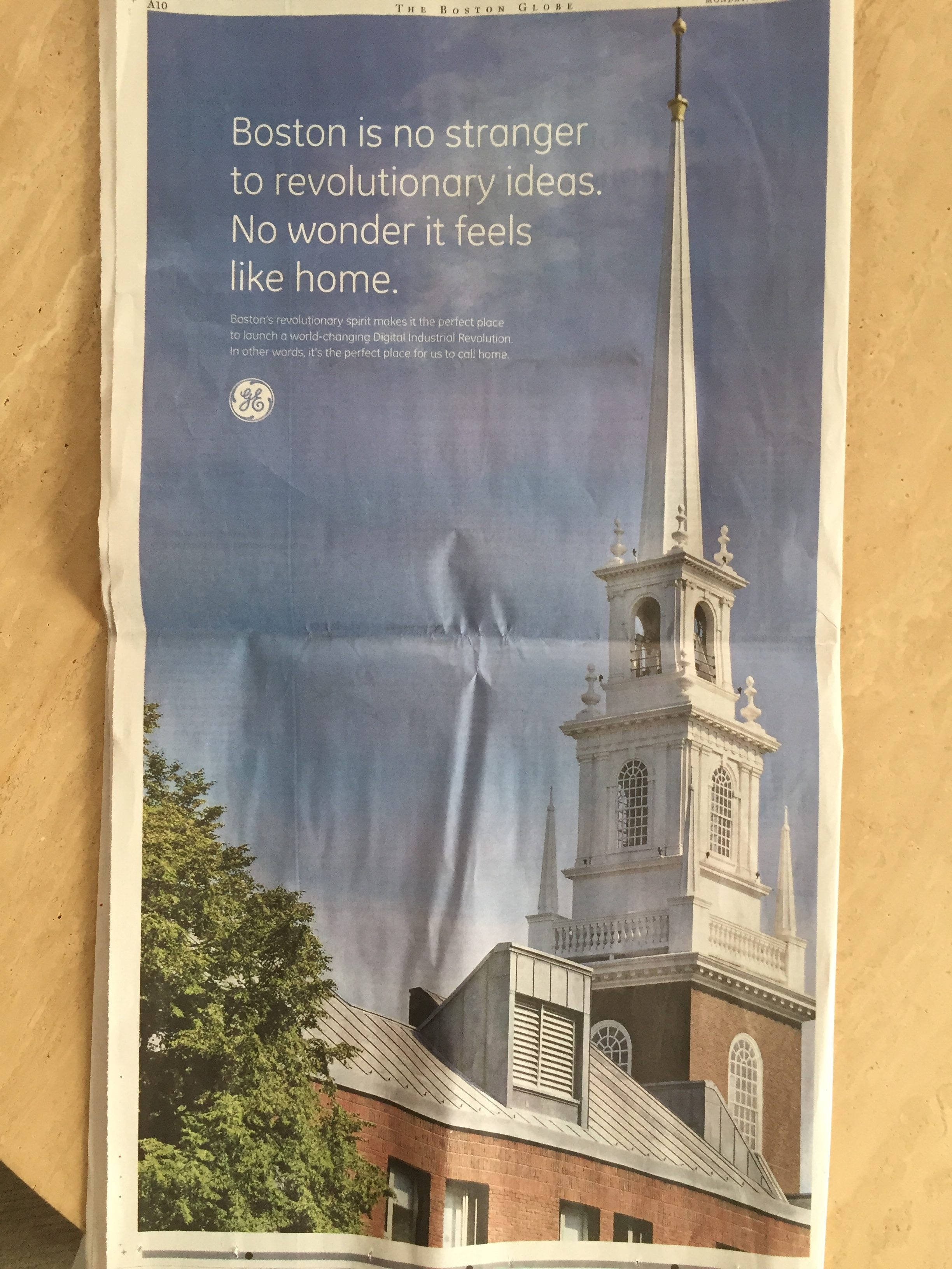 Whoops! Read how GE referenced the wrong church steeple in their Globe advertisement.