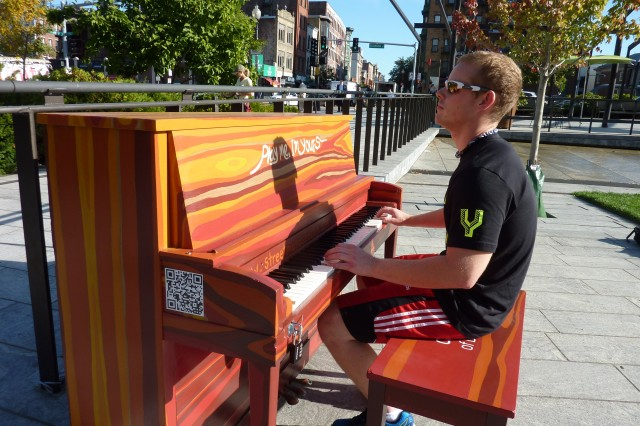 Playing Piano at the North End Parks on the Greenway (NEWF Photo)