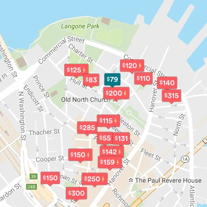 AirBnb Rentals in Boston's North End (Snapshot October 19, 2016)