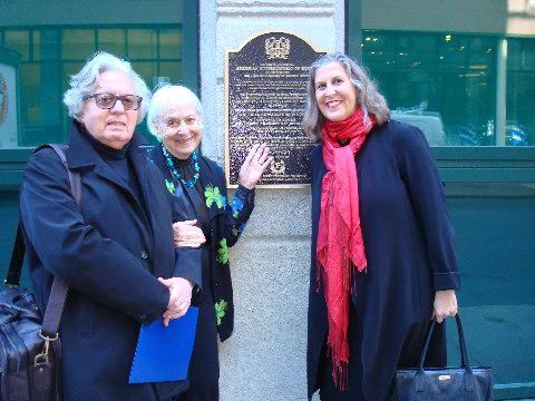 (Left to right) Professor Franco Sciannameo, Carnegie Mellon University Music Historian and Prof. of Music -- center Teresa Mazzulli, West End resident, right: Julie Burros, Chief of City of Boston Arts and Culture Department.