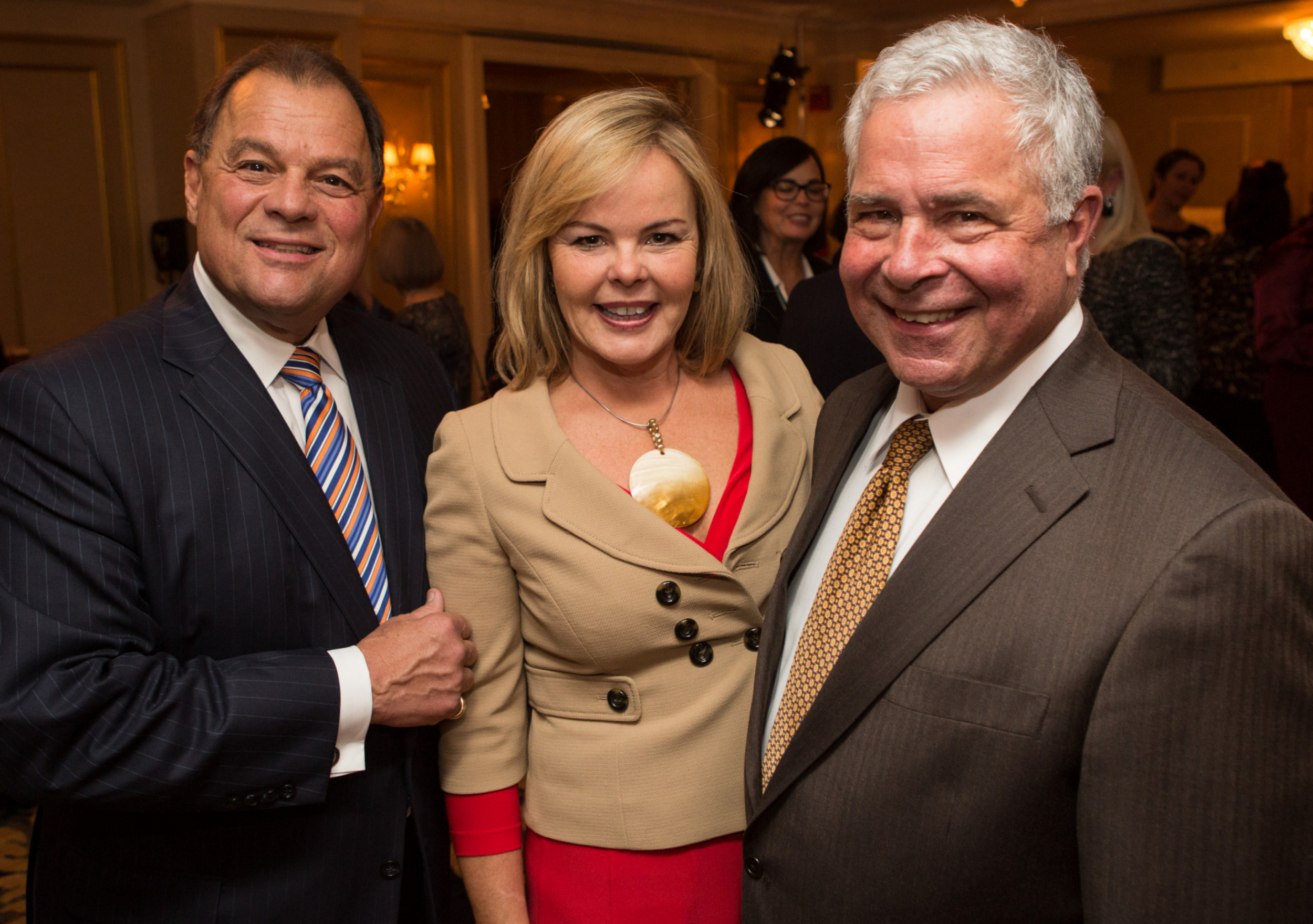 (Left to right): Former MA Senate President and Event Co-Chair Robert Travagline, Cynthia Tocco, and Event Honoree Stephen Tocco (Photo credit: Jake Belcher)