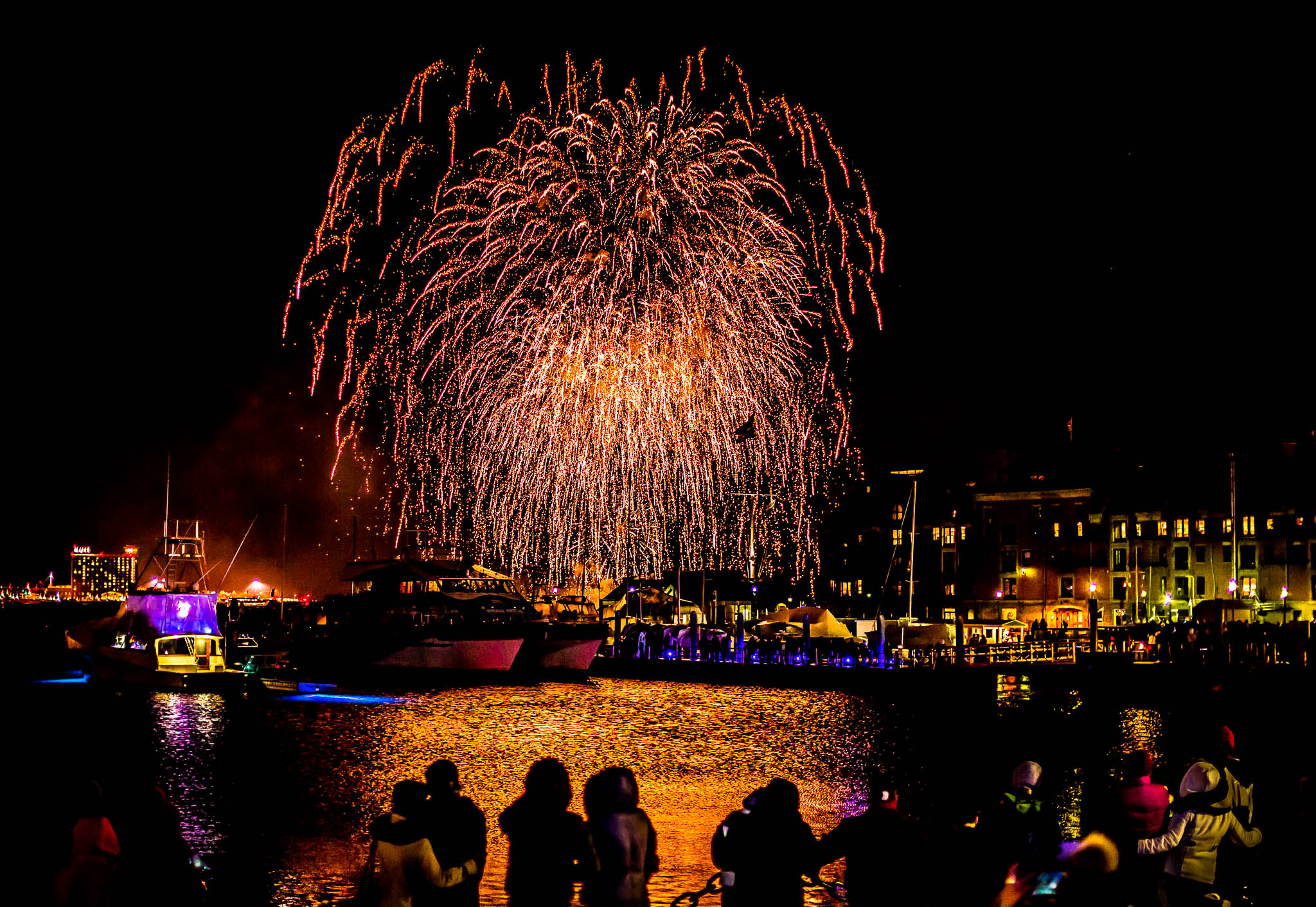 New Year's Fireworks on Boston Harbor at Christopher Columbus Waterfront Park and Long Wharf