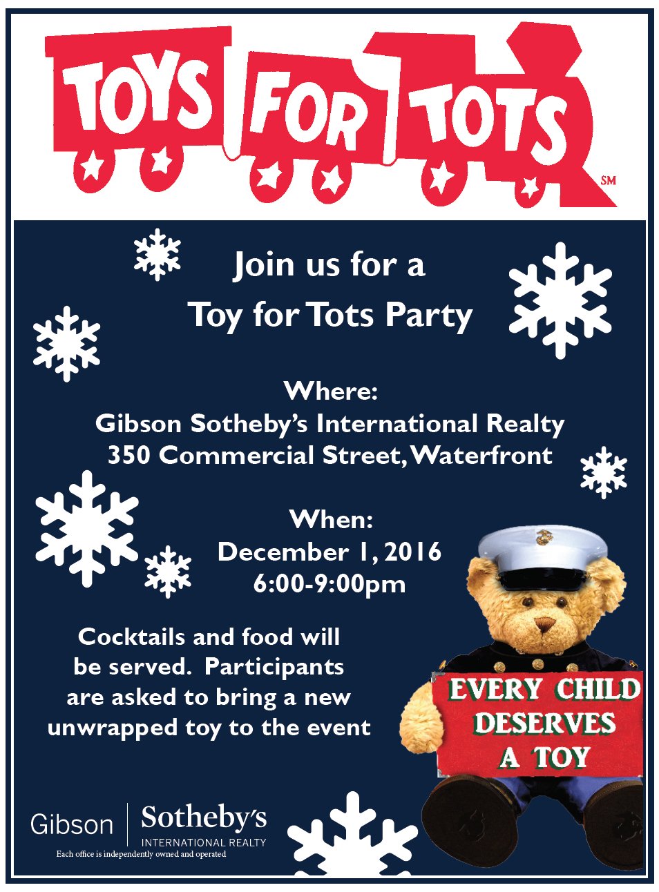 Toys For Tots Flyer 2017 : Toys for tots party on december st northendwaterfront