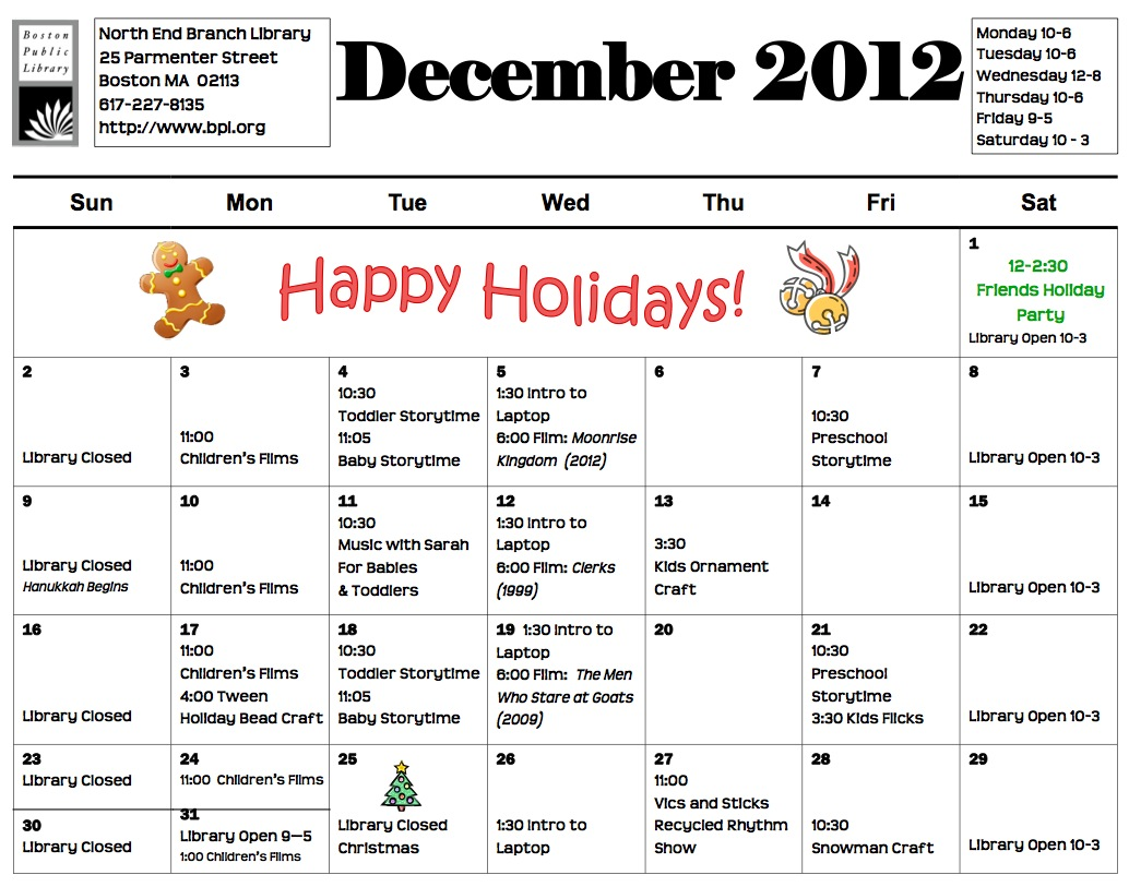 north end branch library activity calendar for december