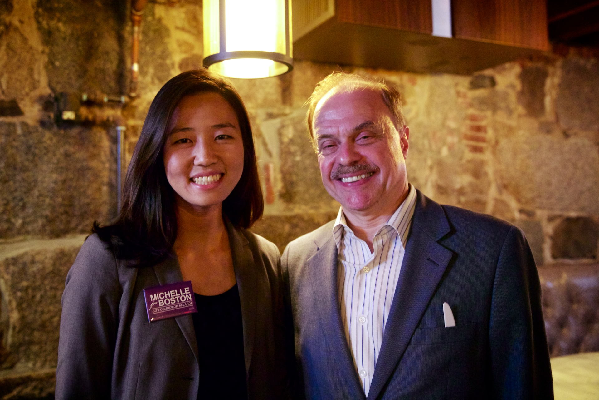 City Councilor At Large Candidate Michelle Wu With Jim Salini At The