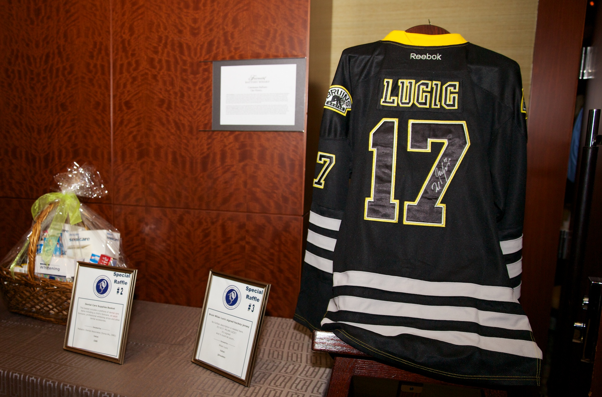 new arrival b8a1f 3adc1 Special Raffle Prizes included a signed jersey from Boston ...