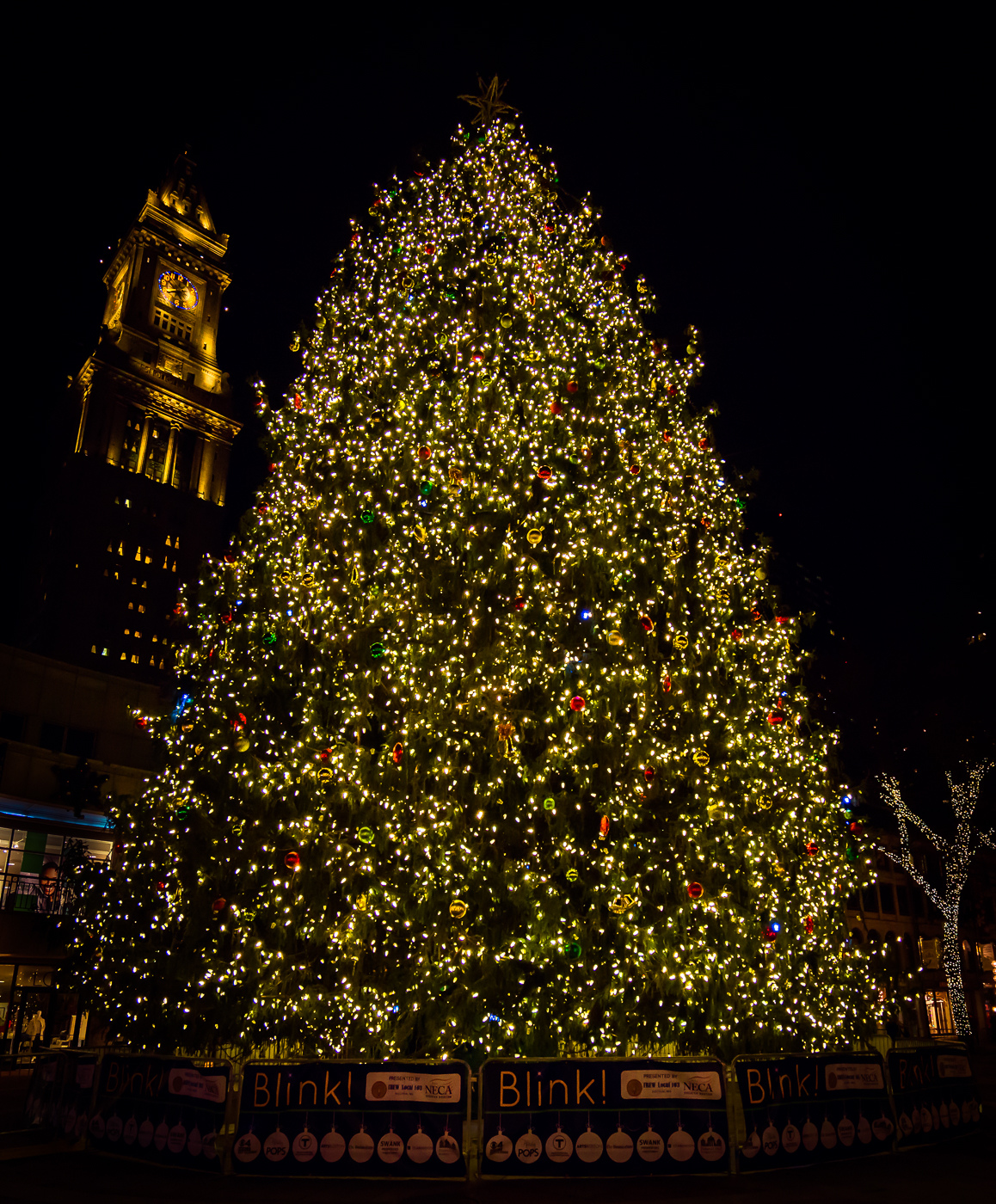 Boston 39 s first and tallest tree lighting at faneuil hall for Christmas tree light lamps