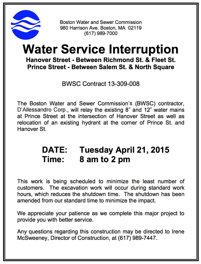 Important Notice Water Service Interruption At Hanover