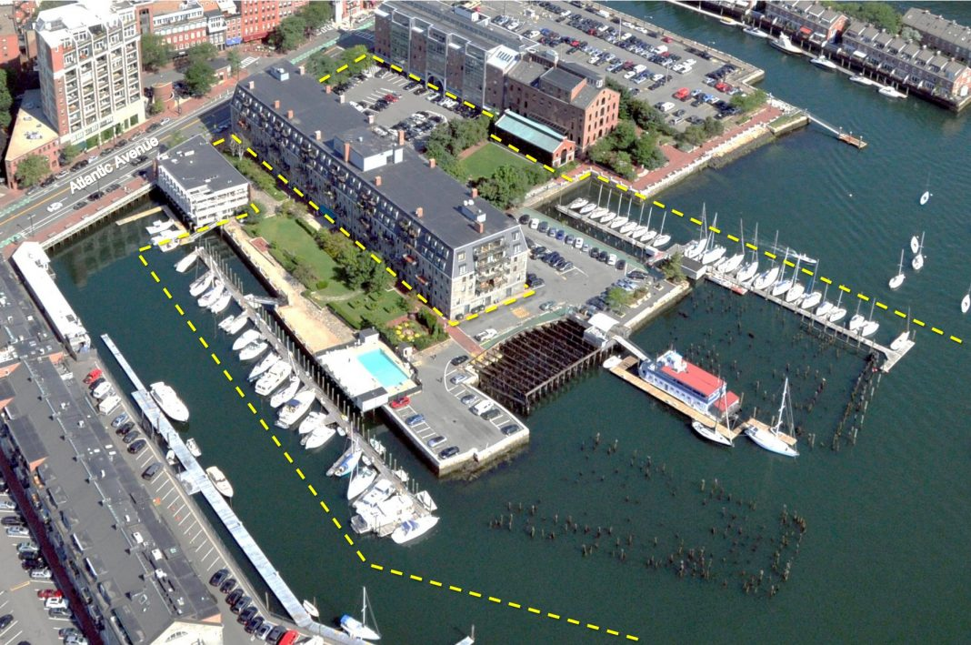 Aerial of existing property at Lewis Wharf with marked project borders (Image from PNF)