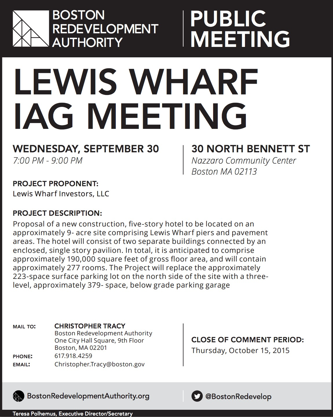 Lewis Wharf IAG Meeting on Wednesday, September 30th