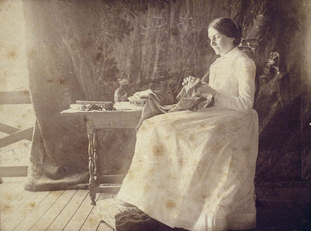 Annie Fields sewing