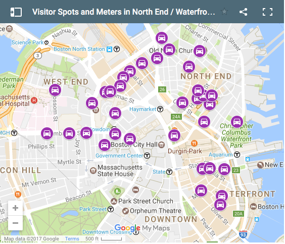 Boston Parking Meter Map North End Neighborhood Visitor and Metered Parking Map