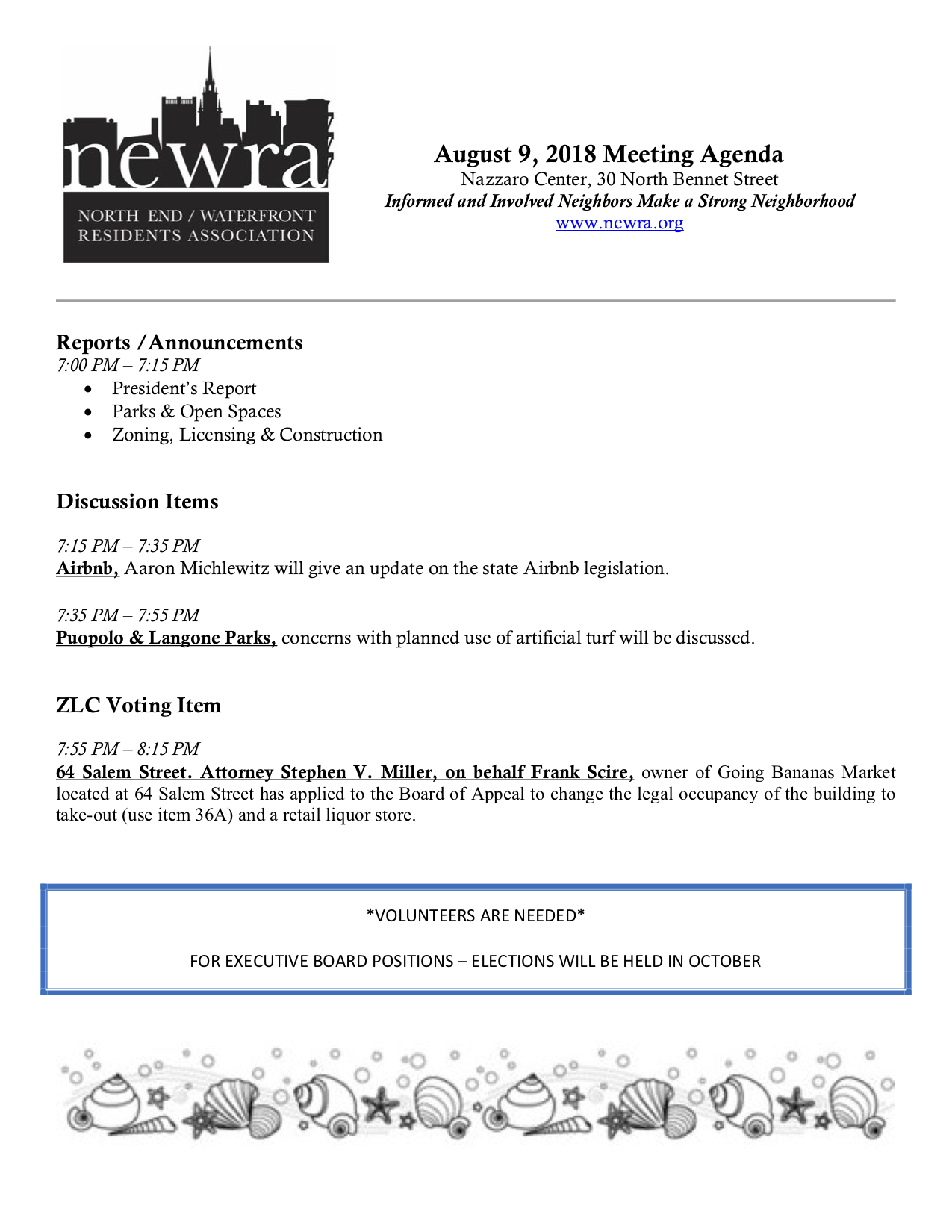 Residents' Association August 9 Agenda: AirBnB Update from
