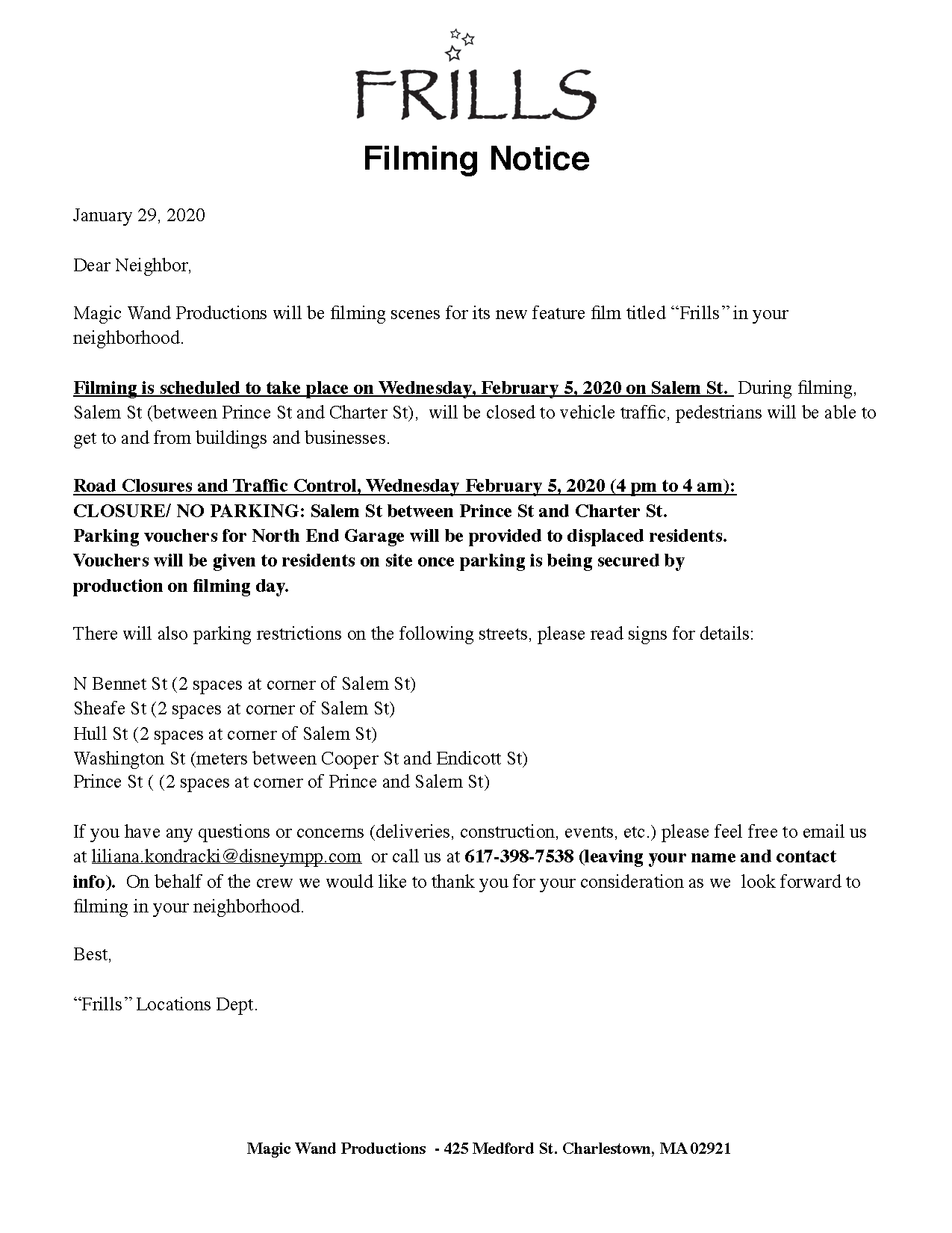 """Filming for """"Frills"""" Feb. 3–5 on Salem St. and North Square"""